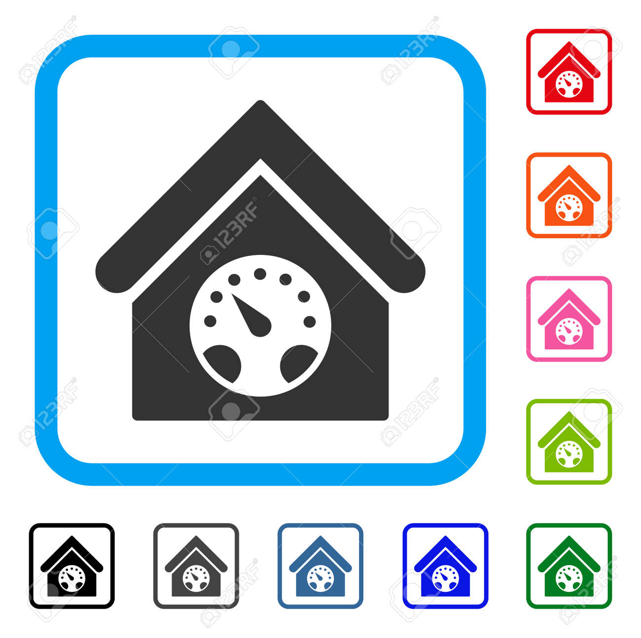 Meter Building Icon Flat Gray Iconic Symbol Inside A Blue Rounded