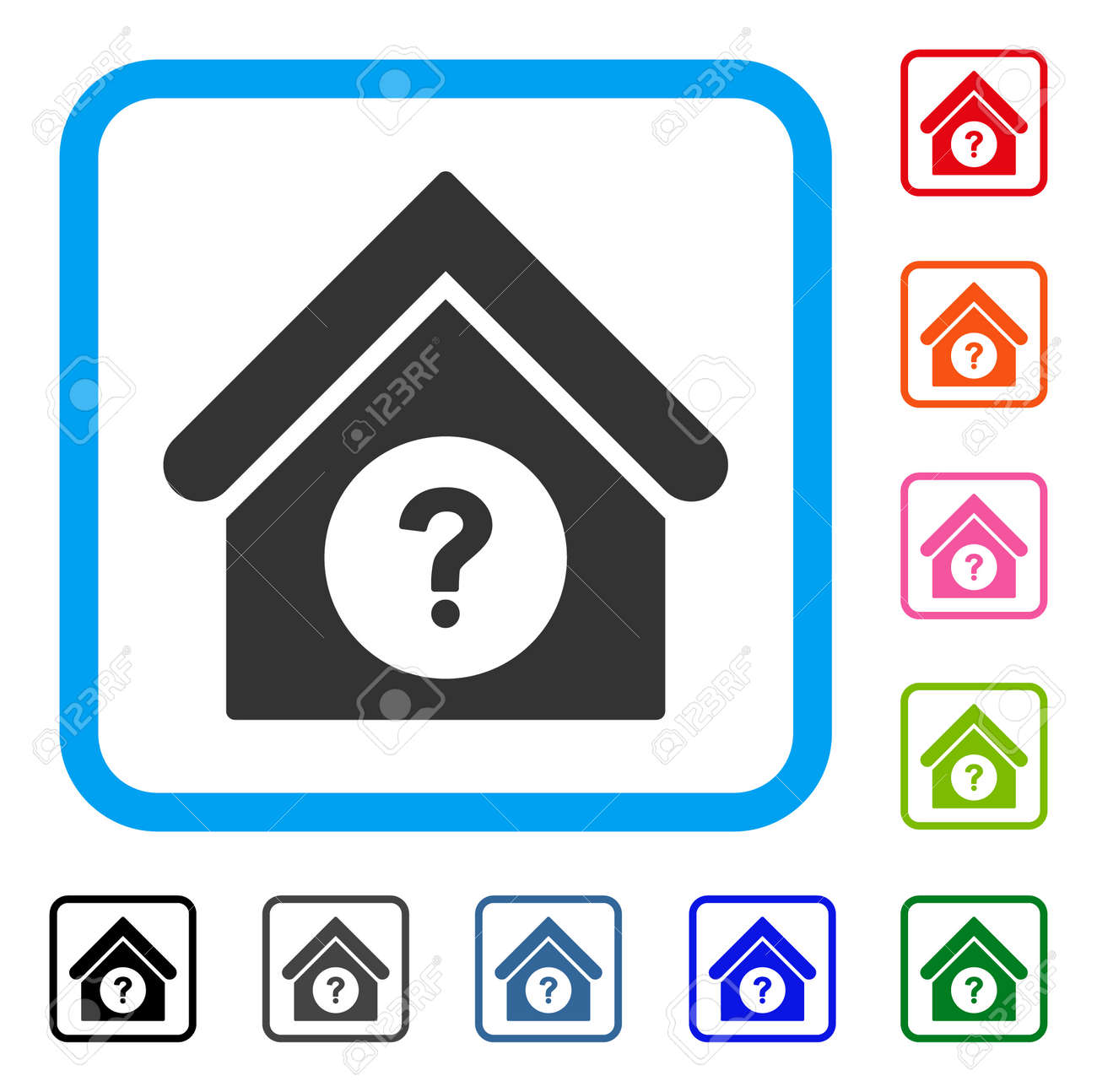 Status Building Icon Flat Gray Pictogram Symbol In A Blue Rounded