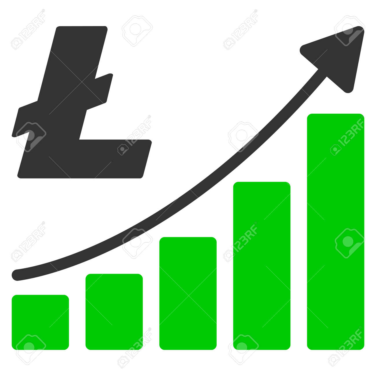 Litecoin Growth Trend Flat Vector Pictogram An Isolated Illustration On A White Background Stock