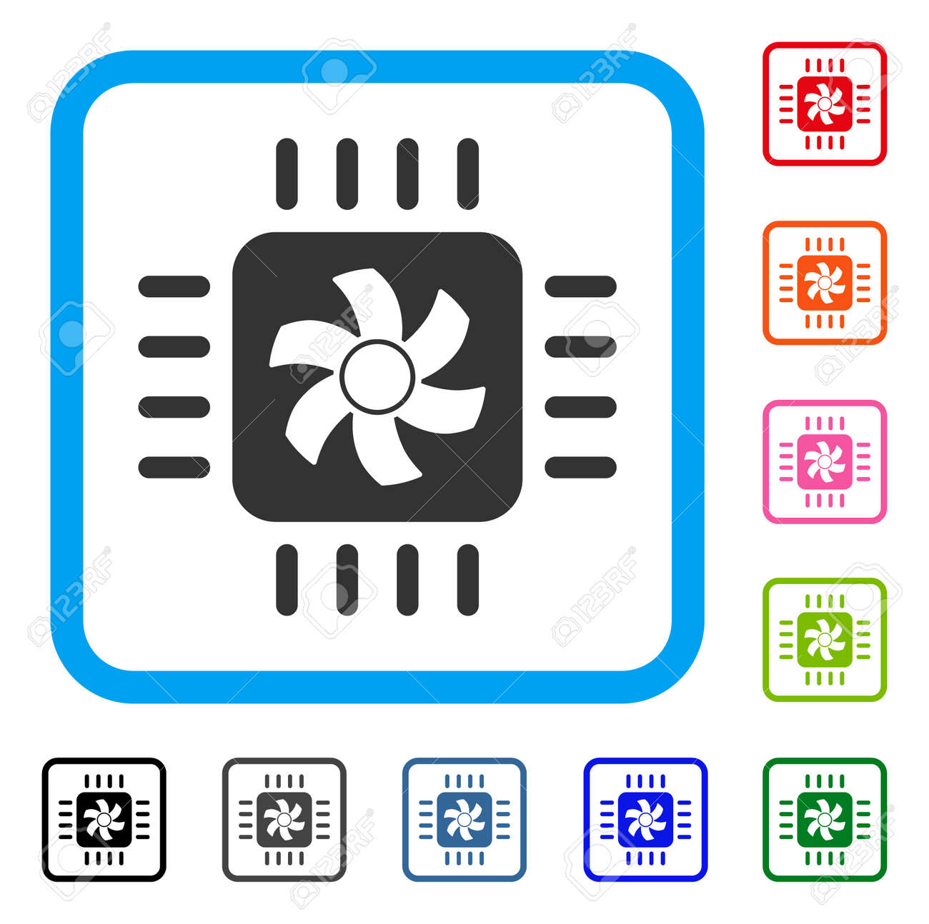 CPU Cooler Icon. Flat Gray Iconic Symbol Inside A Blue Rounded ...