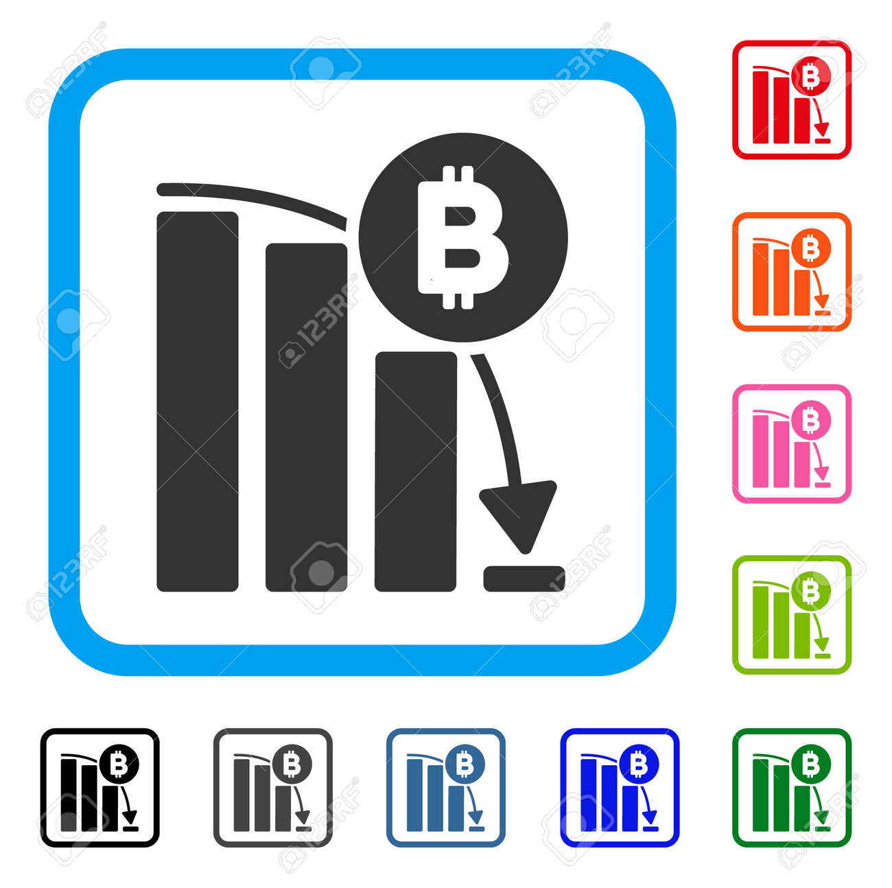 Bitcoin Panic Fall Chart Icon Flat Gray Pictogram Symbol In