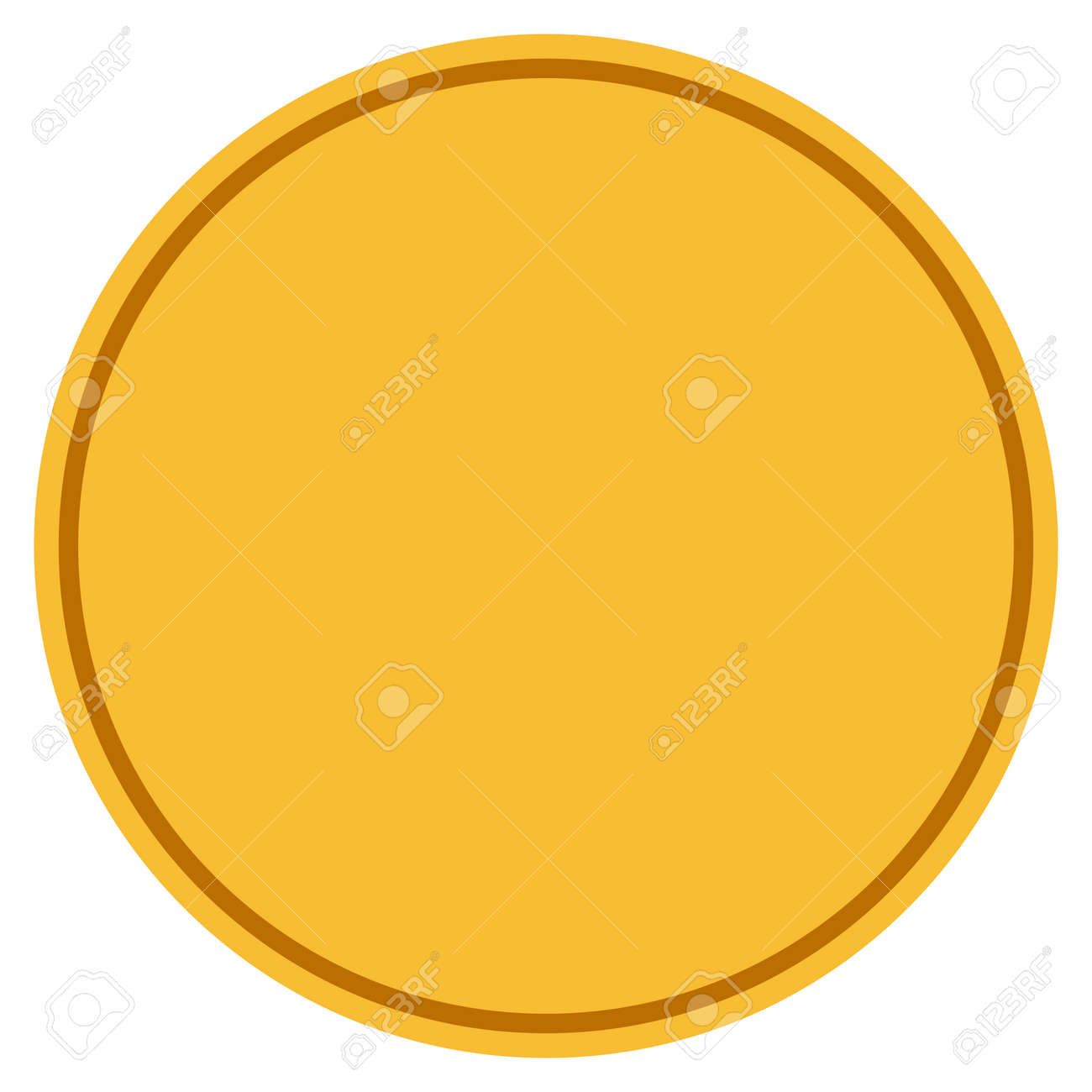 round template golden coin icon vector style is a gold yellow