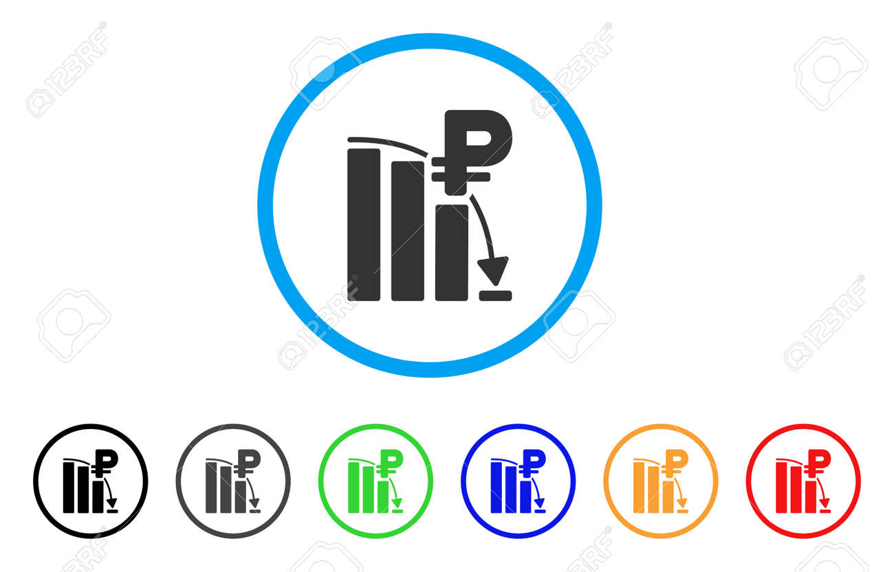Rouble Panic Fall Chart Rounded Icon Style Is A Flat Grey Symbol