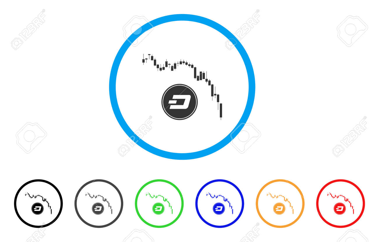 Dashcoin Panic Fall Chart Rounded Icon Style Is A Flat Gray Stock