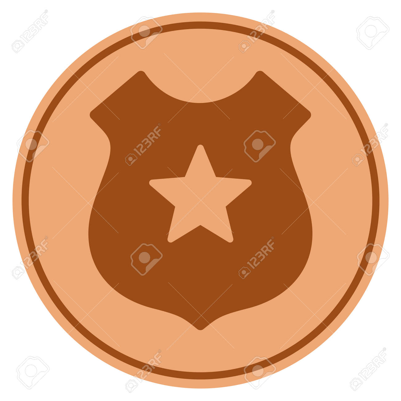 Police bronze coin icon raster style is a copper flat coin symbol raster style is a copper flat coin symbol stock photo buycottarizona Image collections