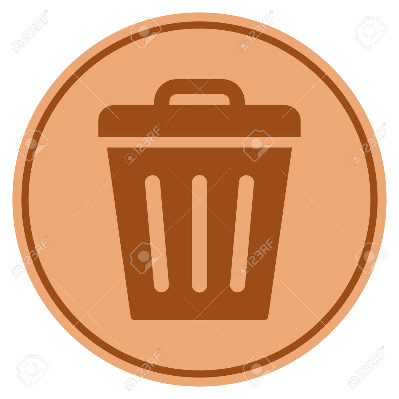 Trash Can Bronze Coin Icon. Vector Style Is A Copper Flat Coin Symbol. Stock