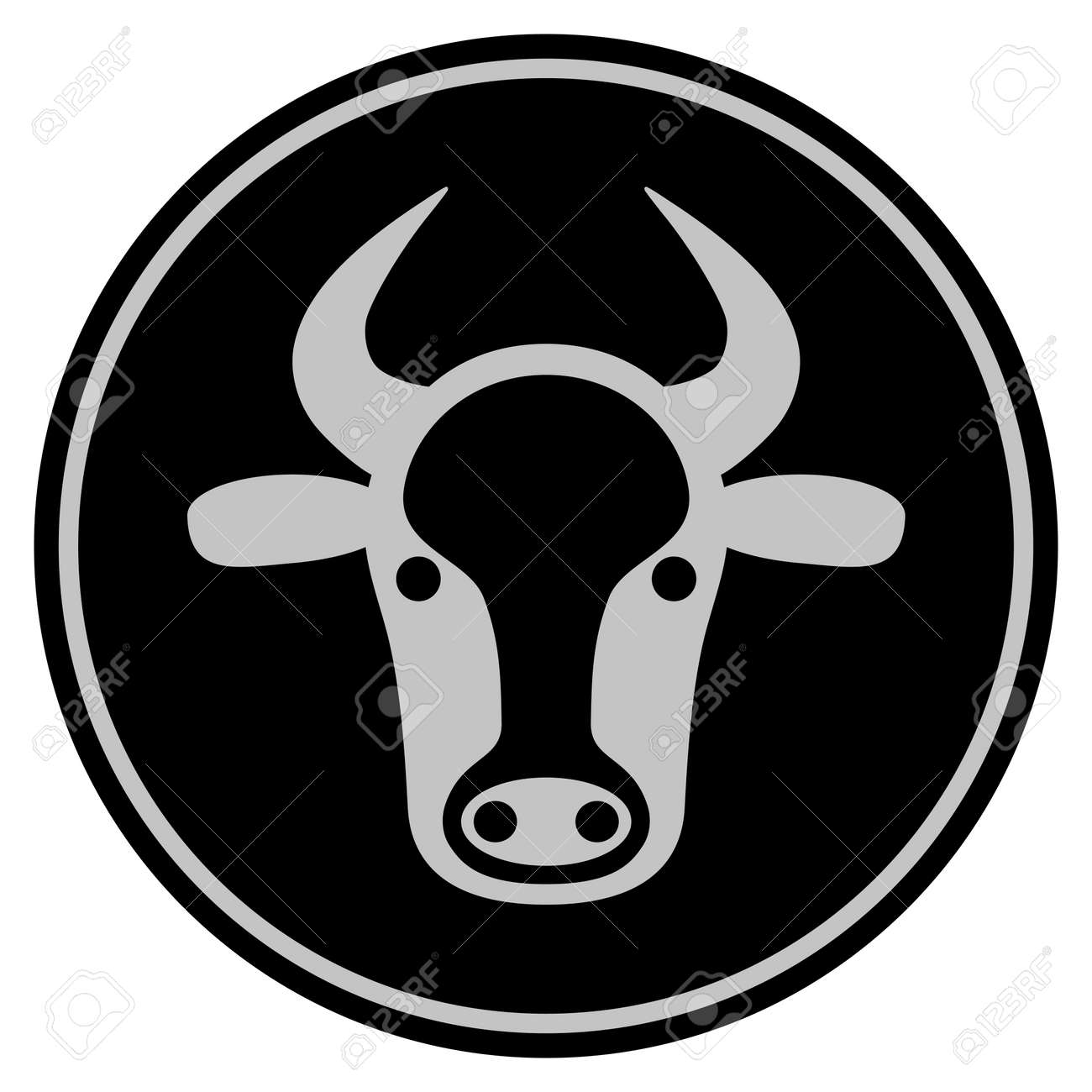 Cow Head Black Coin Icon Vector Style Is A Flat Coin Symbol