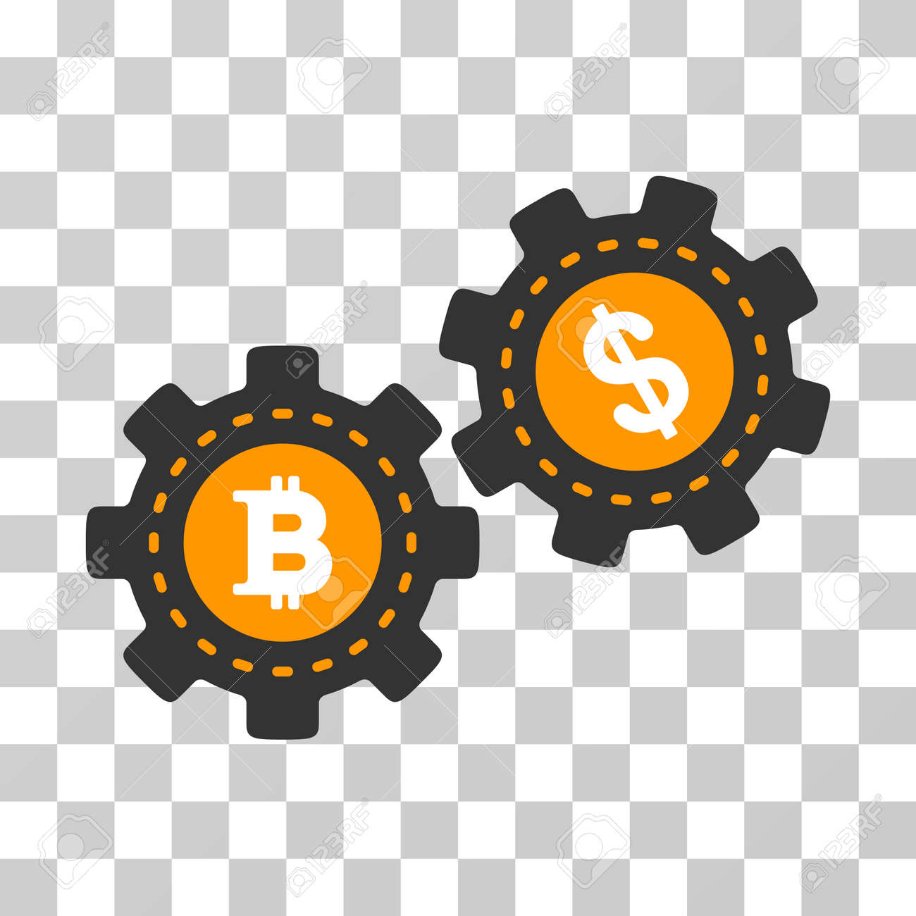 Bitcoin Dollar Engine Gears vector pictogram  Illustration style