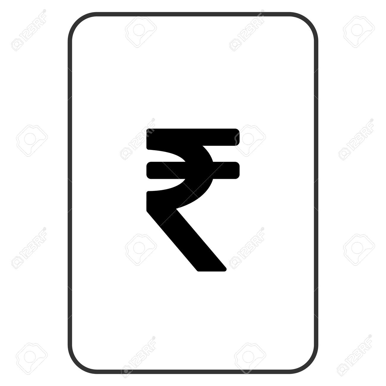 Indian Rupee Playing Card Pictogram Raster Style Is A Flat Symbol