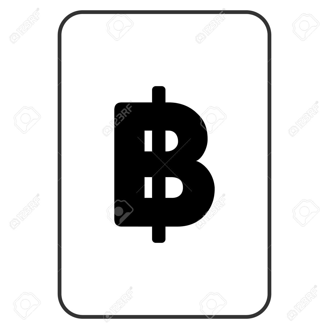 Thai Baht Playing Card Icon Raster Style Is A Flat Symbol Of