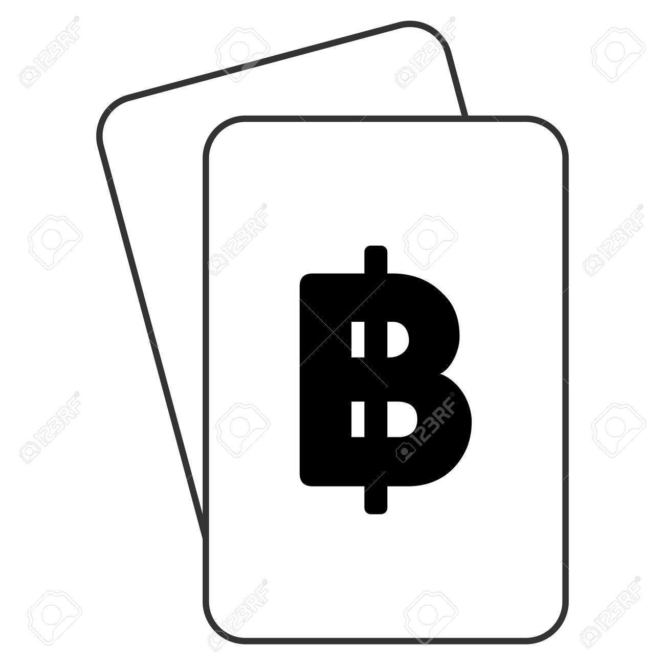 Thai Baht Playing Cards Icon Vector Style Is Gambling Card With