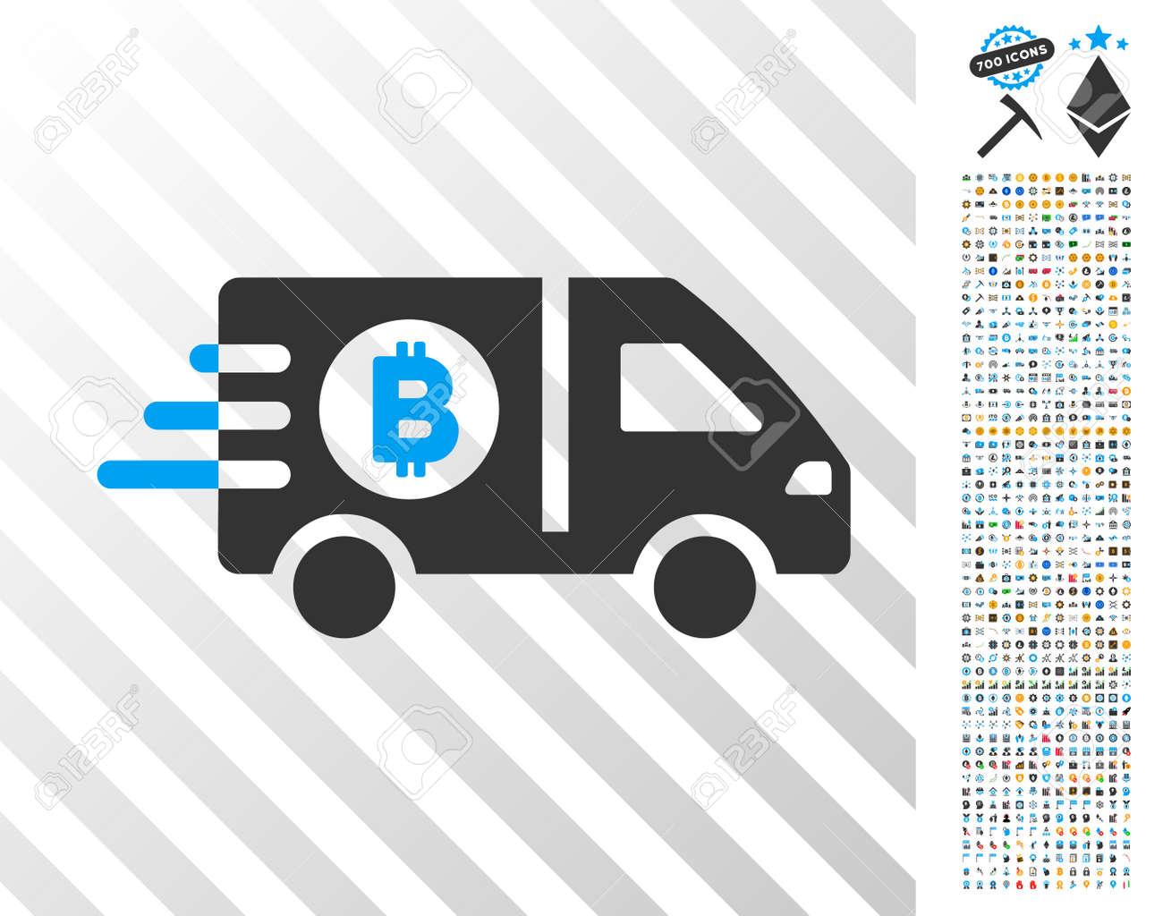Fast Bitcoin Delivery Car icon with 7 hundred bonus bitcoin mining