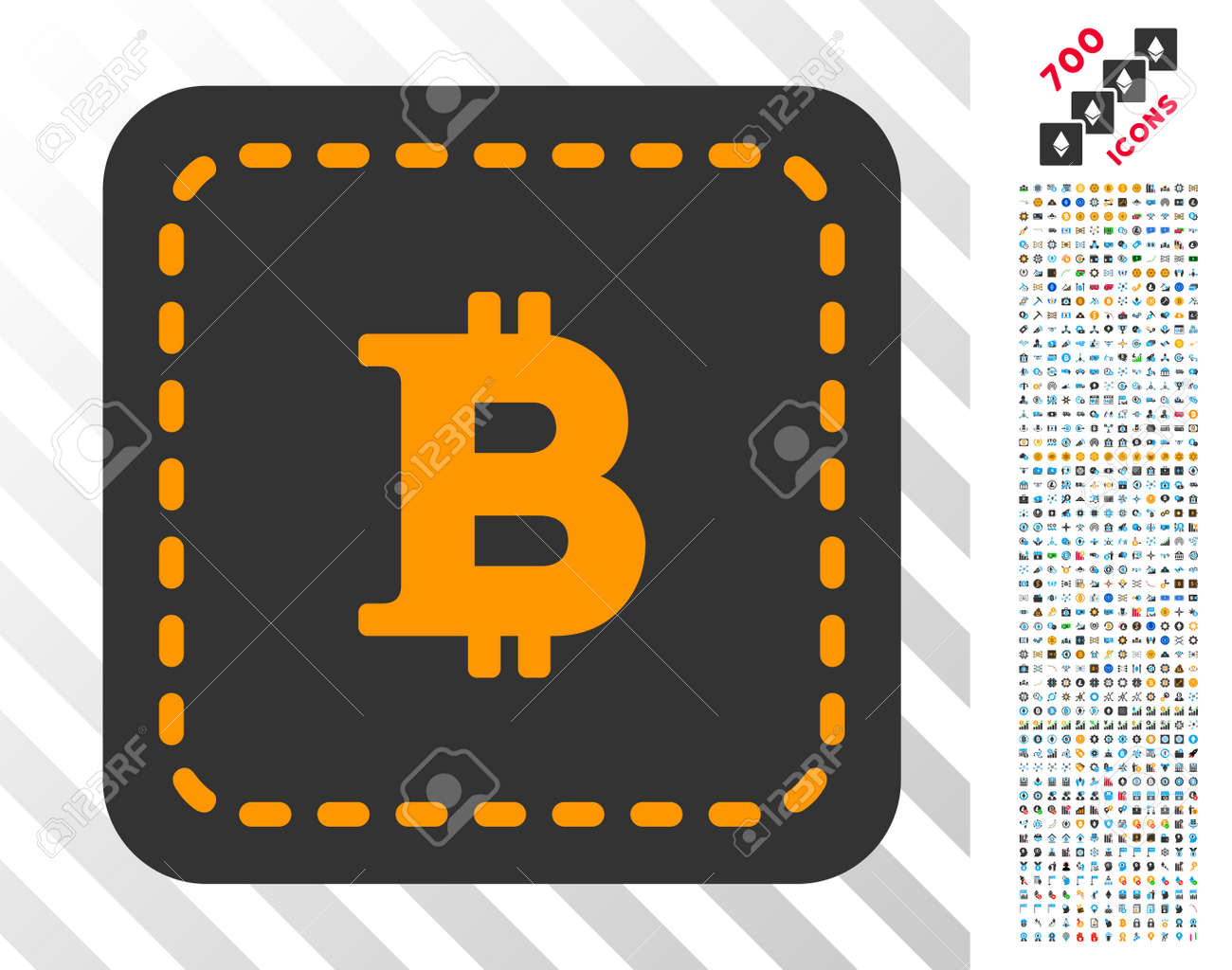 Bitcoin Wallet Icon With 7 Hundred Bonus Mining And Blockchain Pictograms Vector Illustration Style