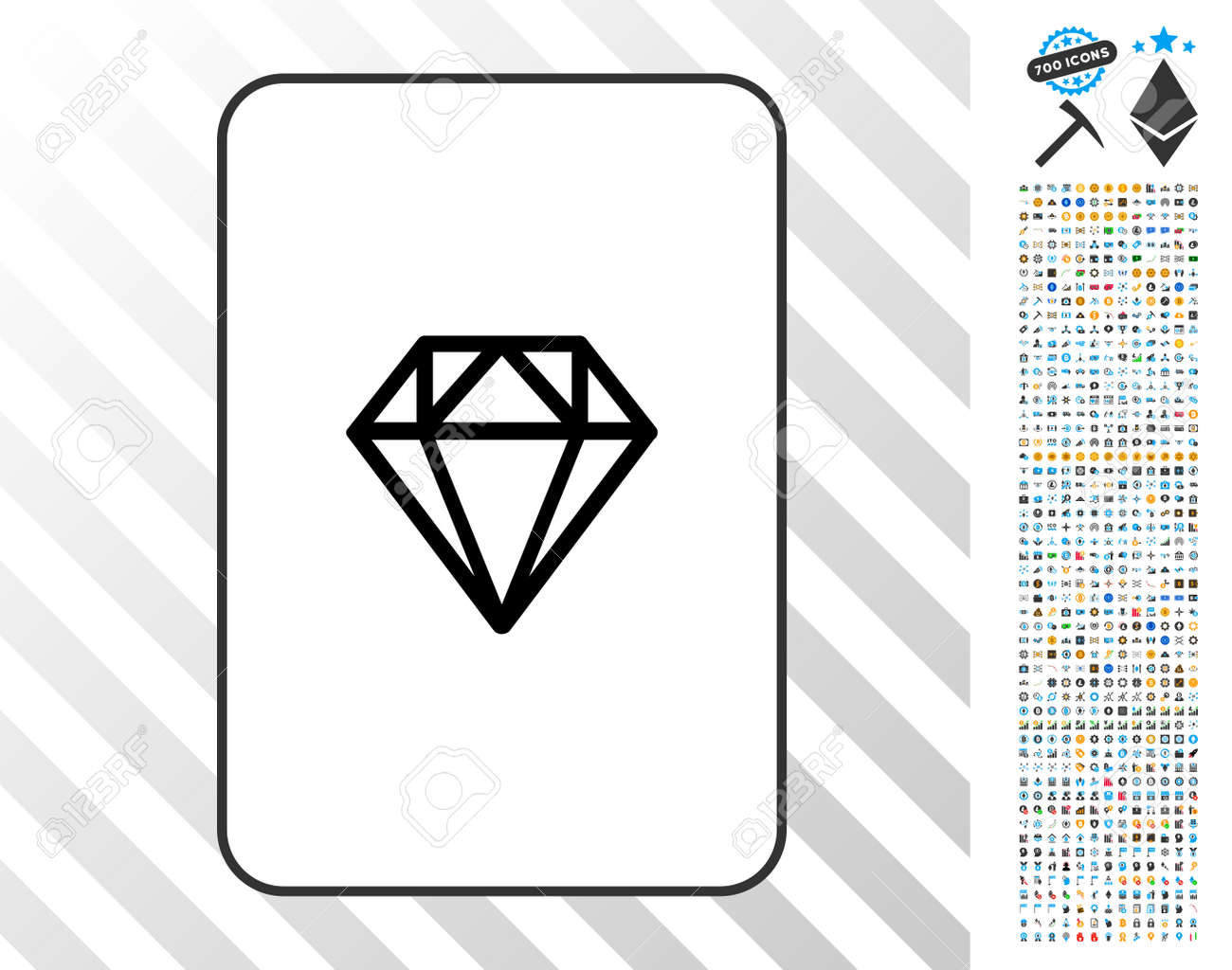 Diamond Playing Card Pictogram With 7 Hundred Bonus Bitcoin Mining Royalty Free Cliparts Vectors And Stock Illustration Image 93481800