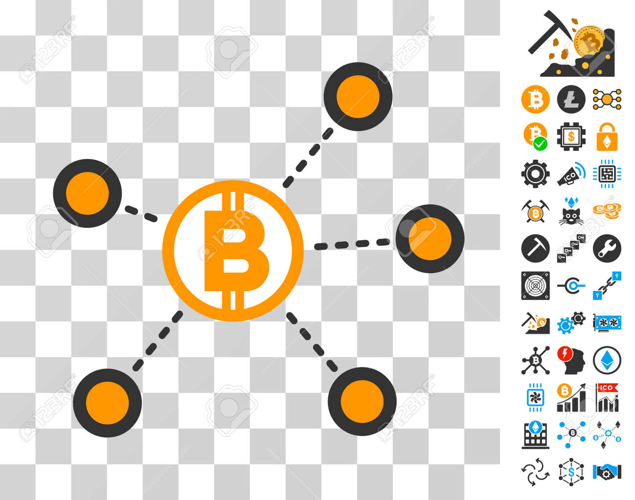 Bitcoin Network Links pictograph with bonus bitcoin mining and