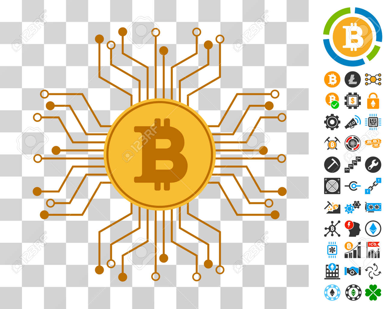 Bitcoin Circuit Links icon with bonus bitcoin mining and blockchain
