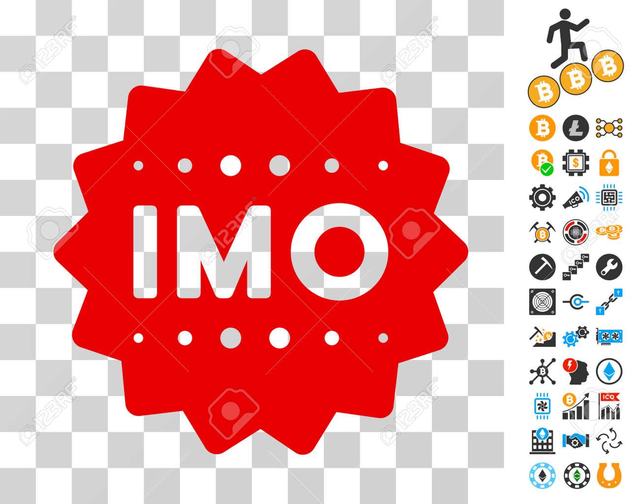 Imo Token Icon With Bonus Bitcoin Mining And Blockchain Pictograms