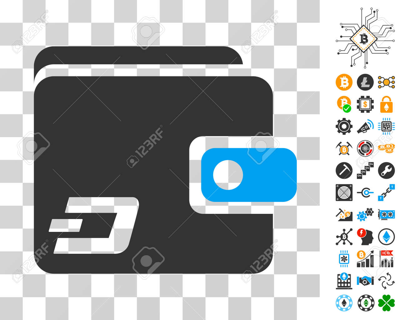 Dash Wallet icon with bonus bitcoin mining and blockchain pictograms