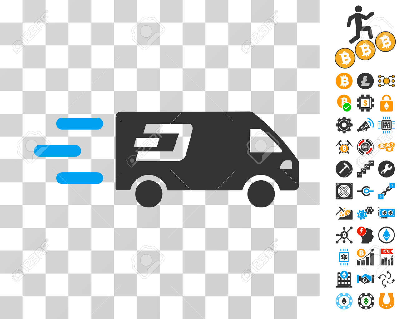 Fast Dash Delivery Car icon with bonus bitcoin mining and blockchain