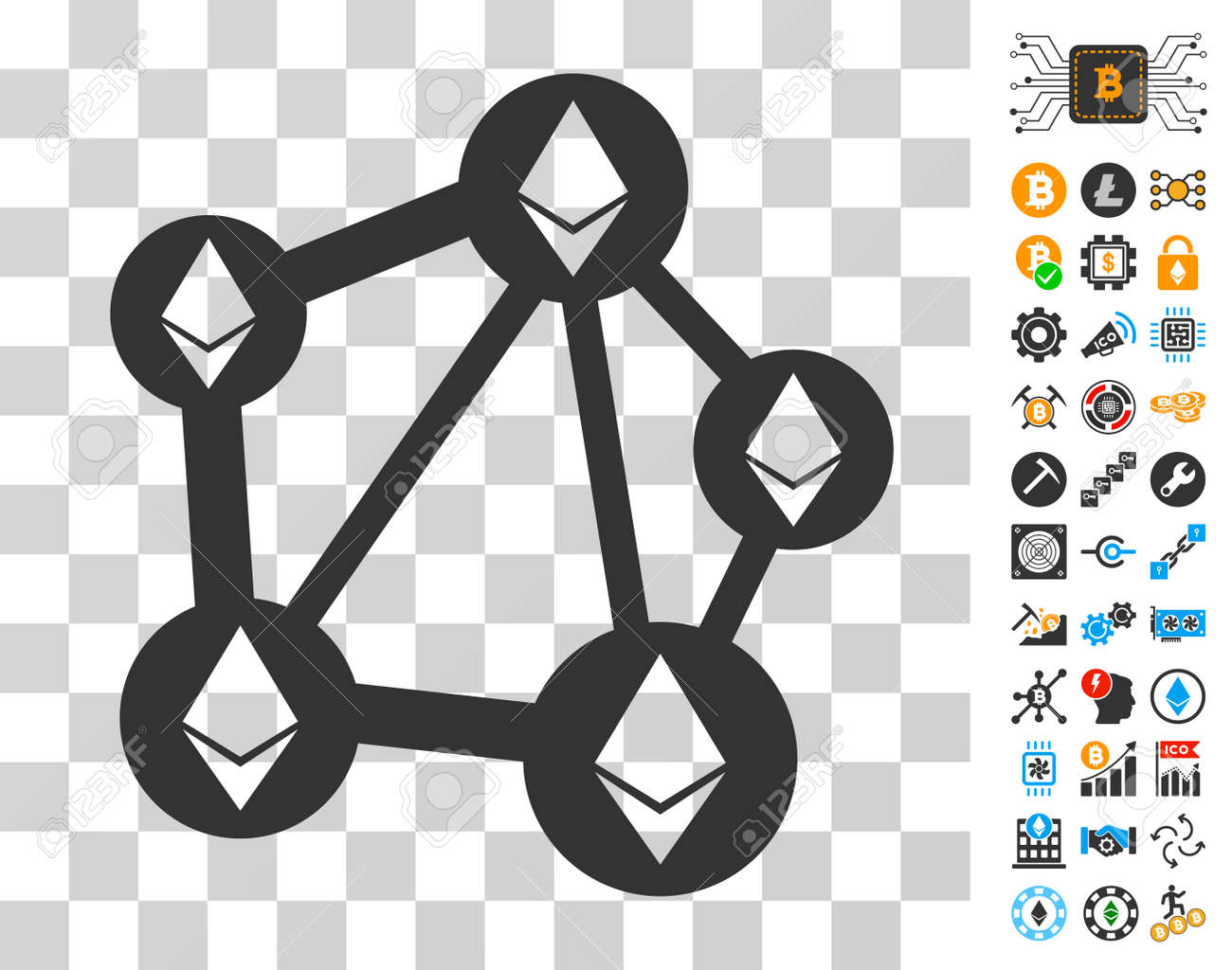 Ethereum Network Icon With Bonus Bitcoin Mining And Blockchain Pictographs Vector Illustration Style Is Flat