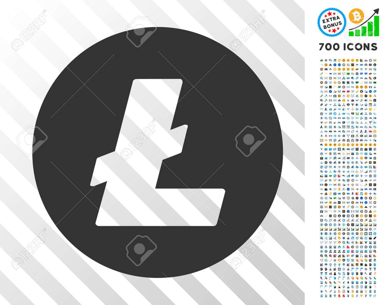 Litecoin Coin icon with 7 hundred bonus bitcoin mining and blockchain