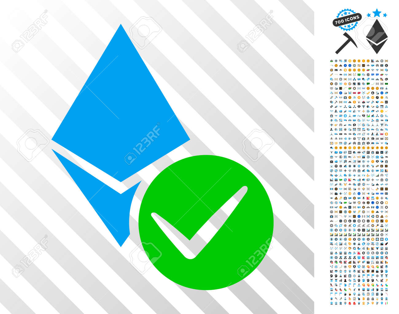 Valid Ethereum Crystal icon with 700 bonus bitcoin mining and blockchain pictures. Vector illustration style is flat iconic symbols designed for bitcoin websites. - 94073475