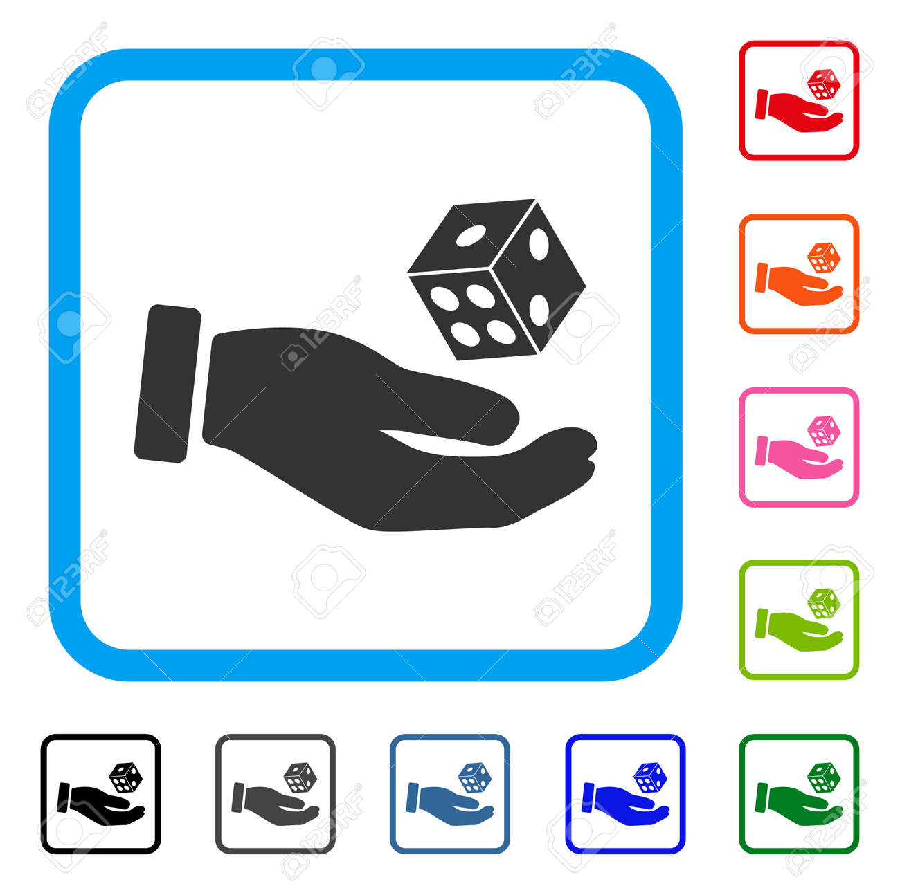 Hand Play Dice Icon Flat Gray Pictogram Symbol In A Blue Rounded