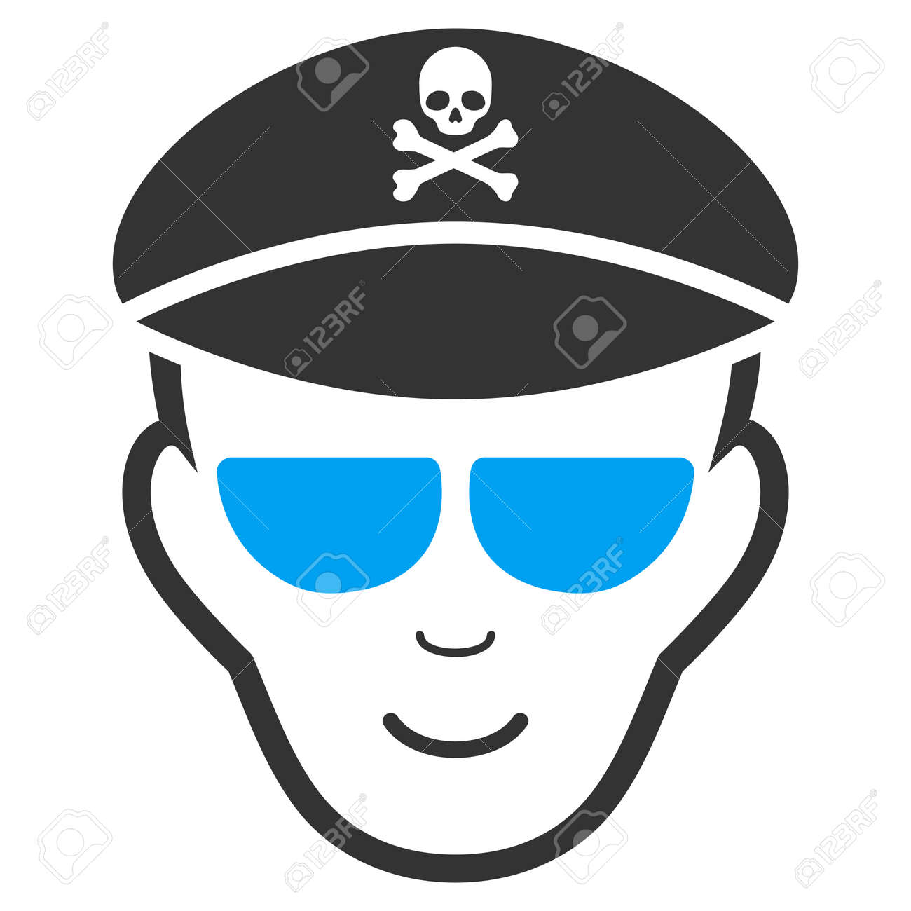 Evil Soldier Face vector icon  Flat bicolor pictogram designed