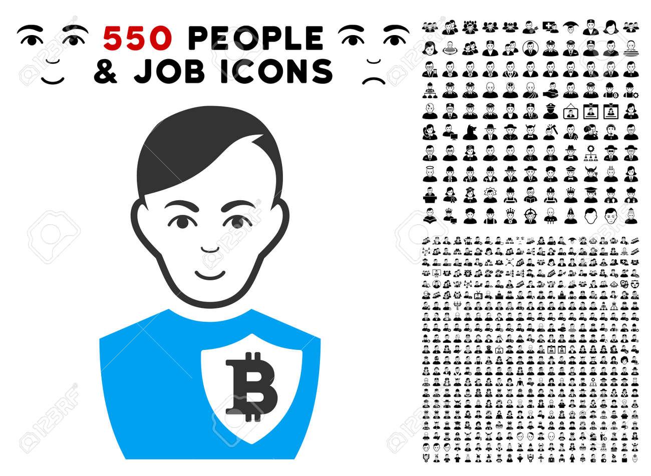 enjoy bitcoin police officer vector pictograph with 550 bonus