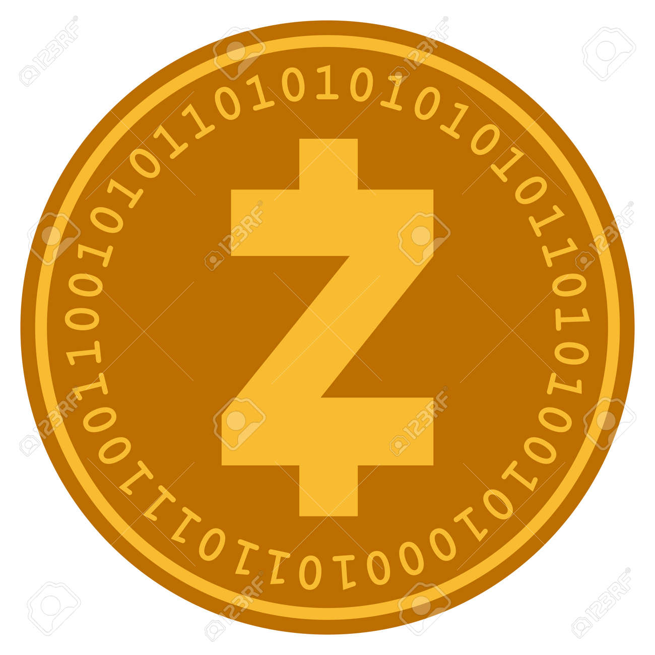 Zcash Golden Digital Coin Icon Vector Style Is A Gold Yellow