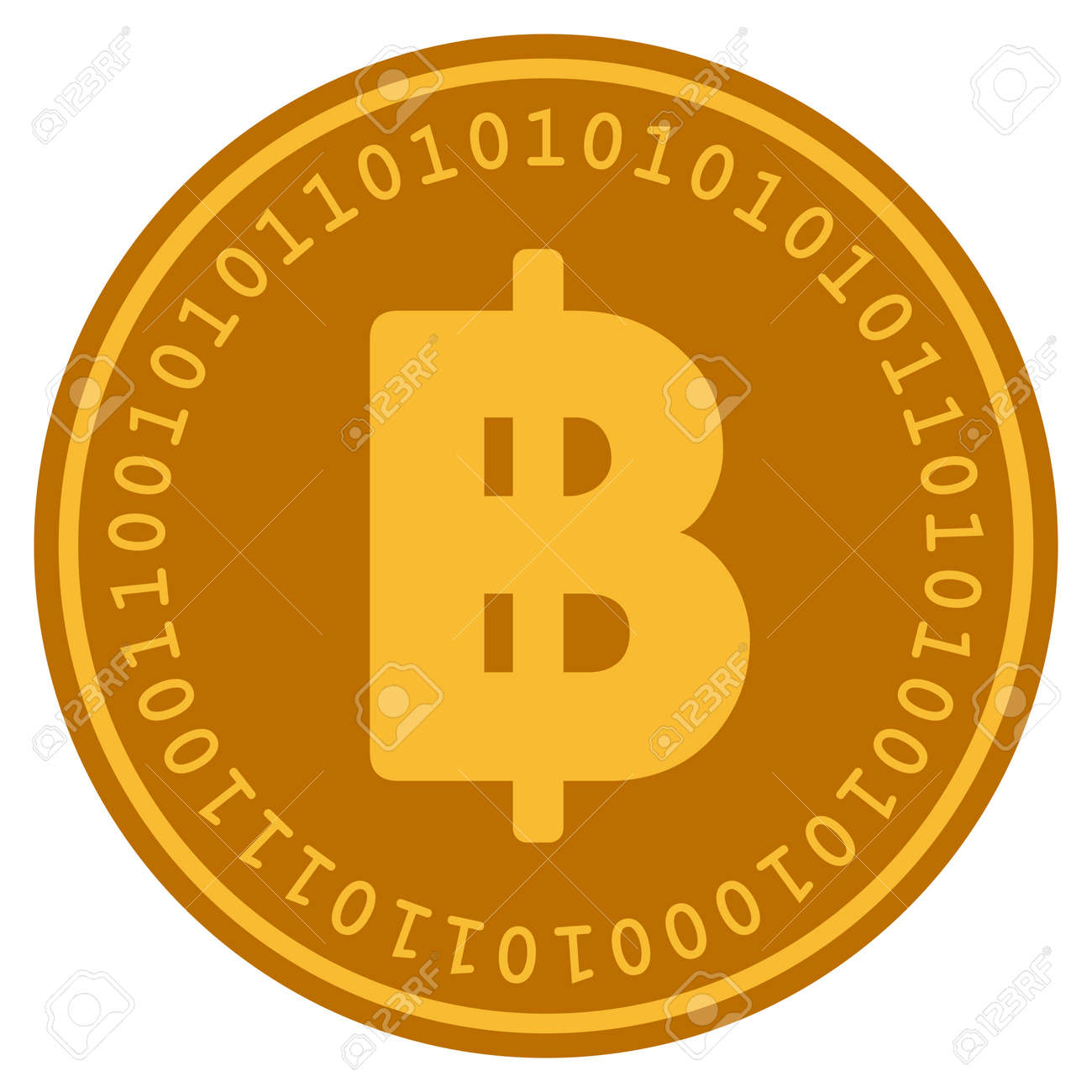 Thai Baht Golden Digital Coin Icon Vector Style Is A Gold Yellow