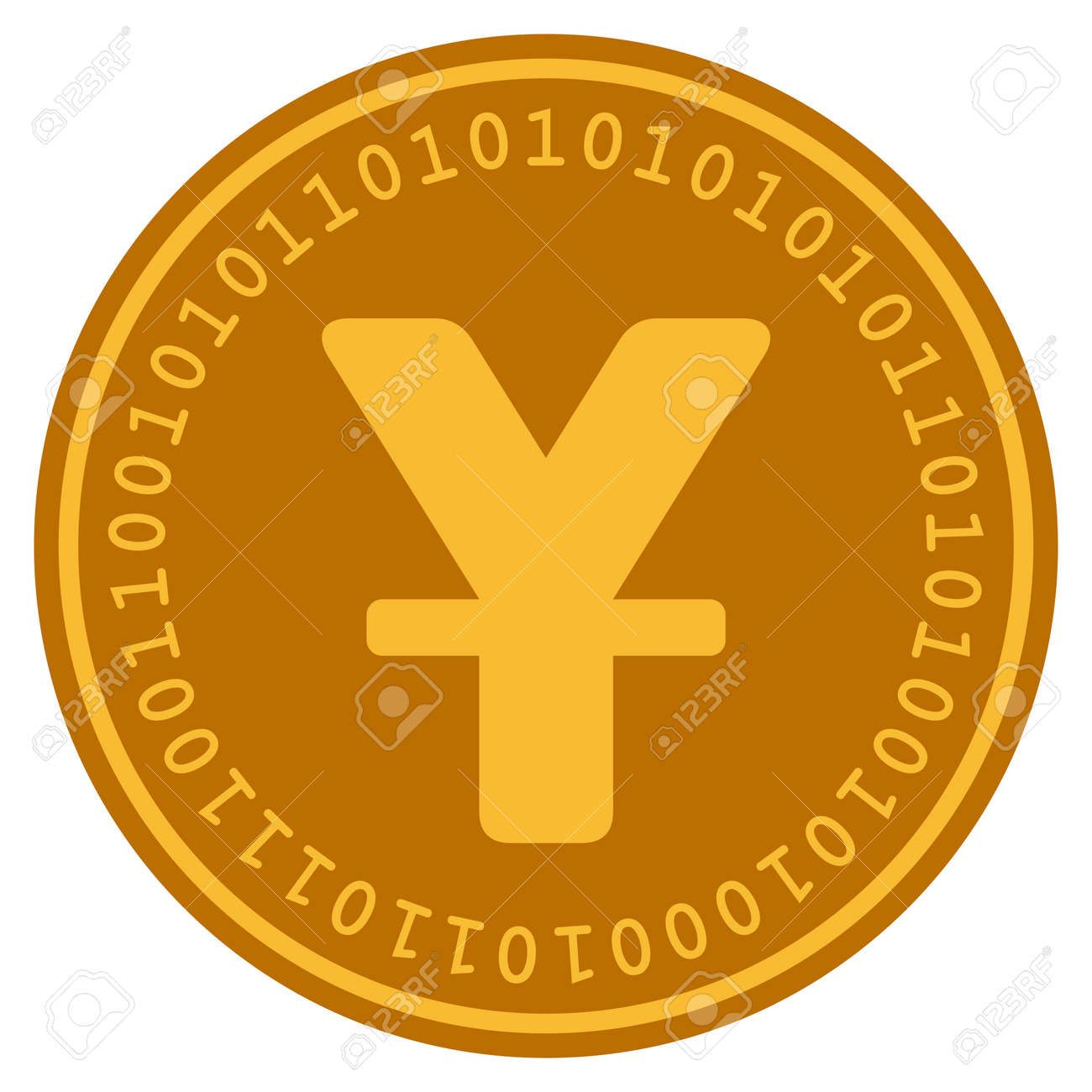 Chinese Yuan Golden Digital Coin Icon Vector Style Is A Gold