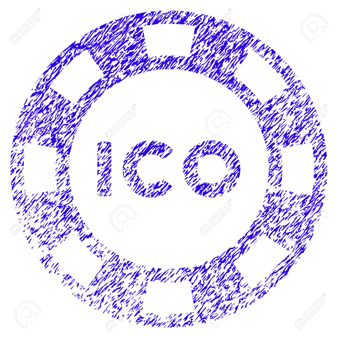 Grunge ICO Token rubber seal stamp watermark  Icon symbol with