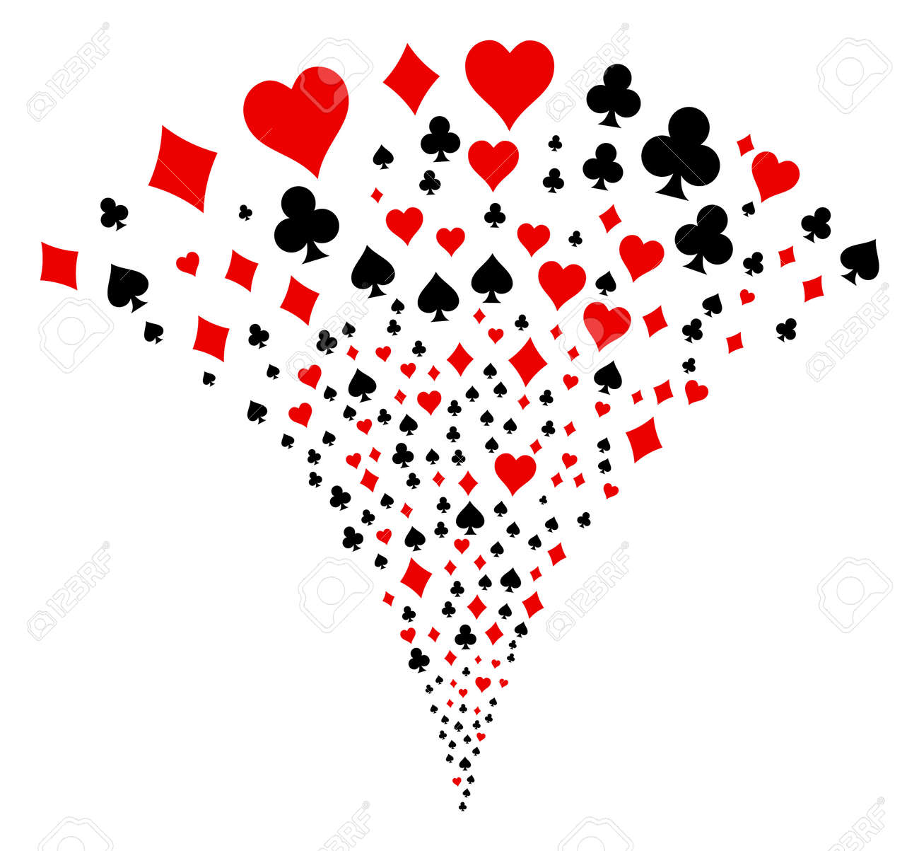 Playing Card Suits burst fountain. Vector illustration style is flat iconic symbols. Object fountain combined from random pictographs as playing card suits fireworks. - 95623240