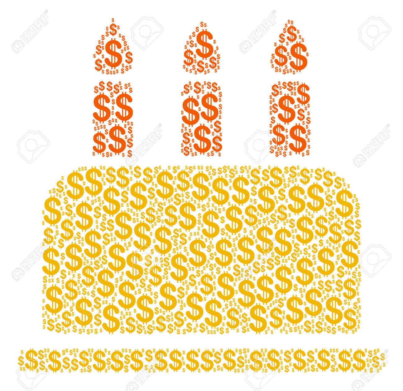 Birthday Cake Mosaic Of American Dollars Vector Dollar Currency Pictograms Are United Into