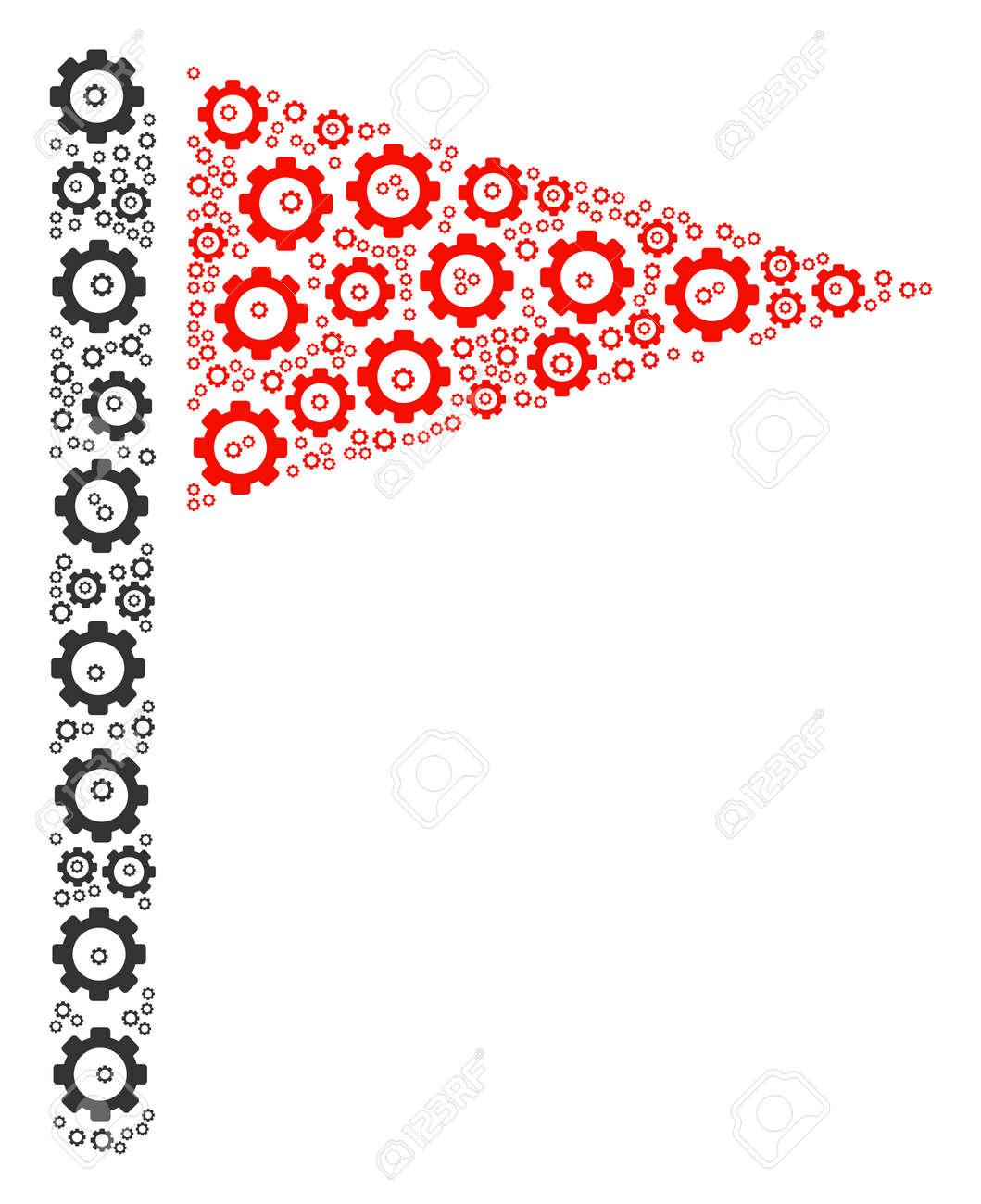 Triangle Flag collage of tooth gears  Raster gearwheel pictograms