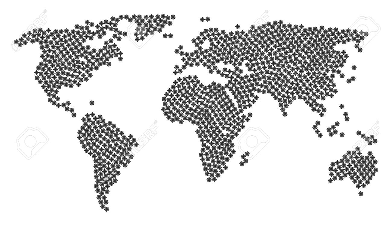 Worldwide atlas pattern combined of gear pictograms vector gear foto de archivo worldwide atlas pattern combined of gear pictograms vector gear icons are composed into conceptual world map gumiabroncs Choice Image