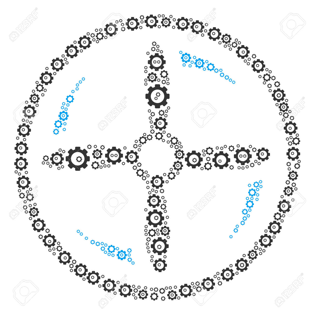Drone Screw Rotation mosaic of cogwheels  Raster tooth gear icons