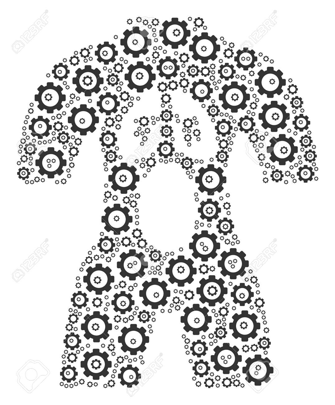 Human Anatomy Mosaic Of Cogs. Raster Cog Wheel Icons Are Combined ...