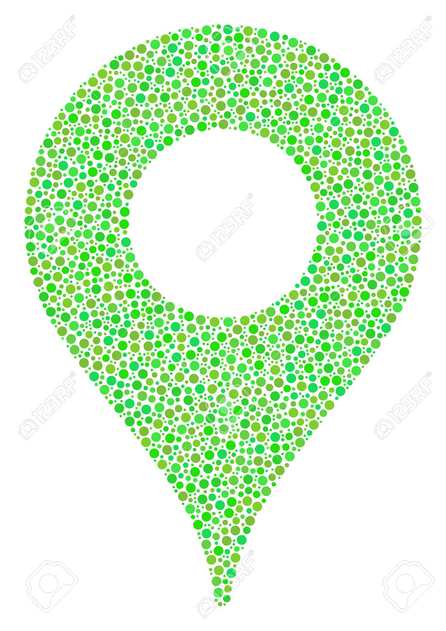 Map Pointer Mosaic Of Dots In Variable Sizes And Eco Green Color