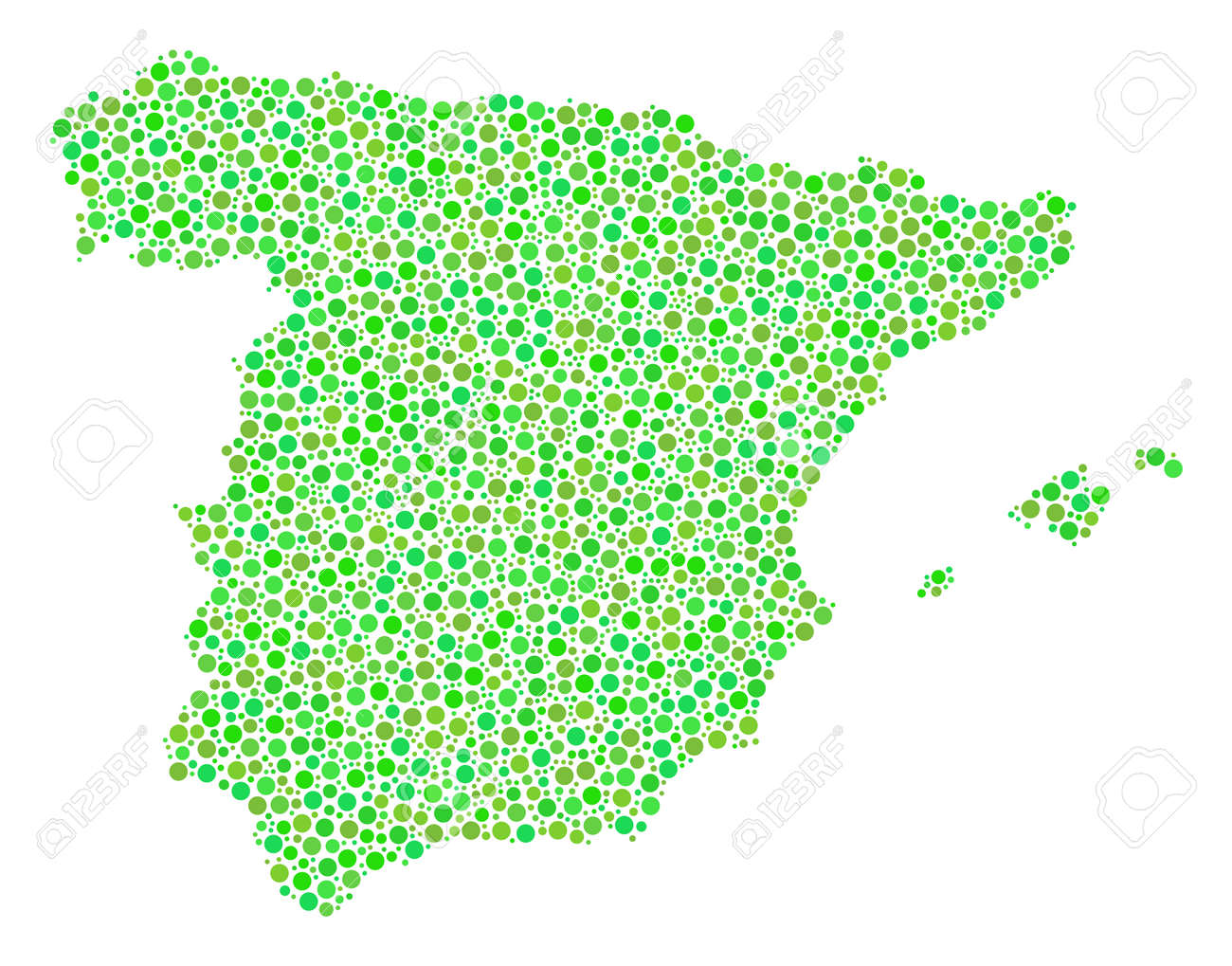 Small Map Of Spain.Spain Map Mosaic Of Small Circles In Different Sizes And Ecological