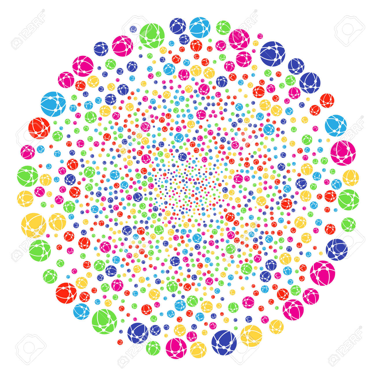 Multi Colored Web Browser Explosion Globula Raster Spheric Cluster