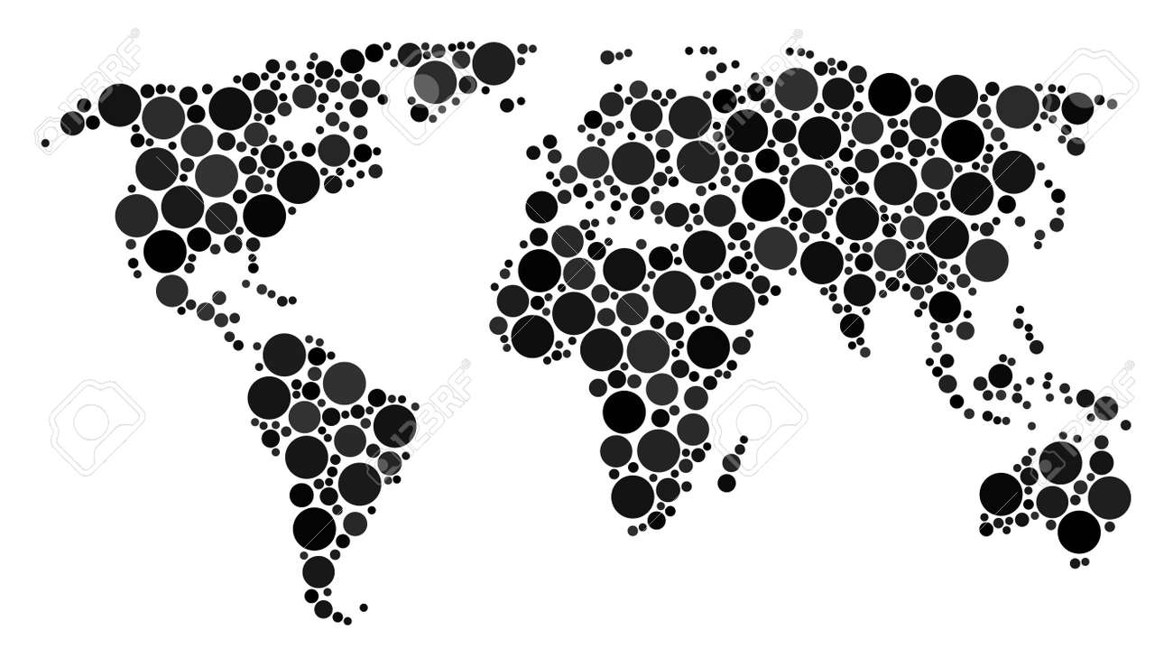World map composition of filled circles in variable sizes and vector world map composition of filled circles in variable sizes and color shades circle dots are united into world map vector composition gumiabroncs Gallery