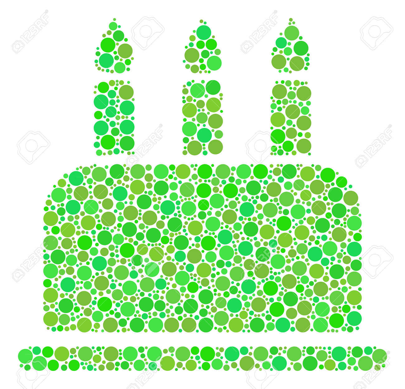 Birthday Cake Mosaic Of Dots In Various Sizes And Eco Green Shades Raster Circle Elements