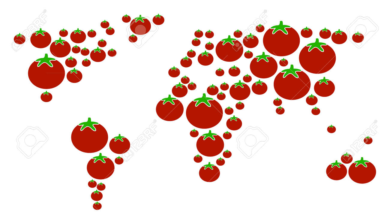 World map collage of tomato in variable sizes vector tomato vector world map collage of tomato in variable sizes vector tomato vegetable elements are grouped into world map composition gumiabroncs