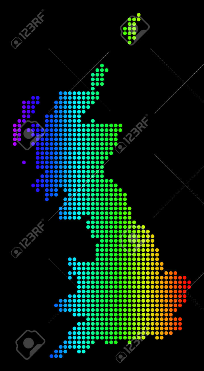 Dotted Pixelated Great Britain Map. Vector Geographic Map In ...