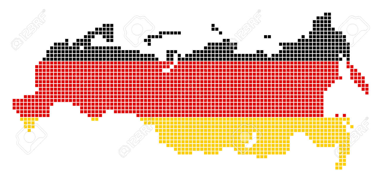 A Dotted Pixel Russia Map Vector Geographic Map In Germany Flag
