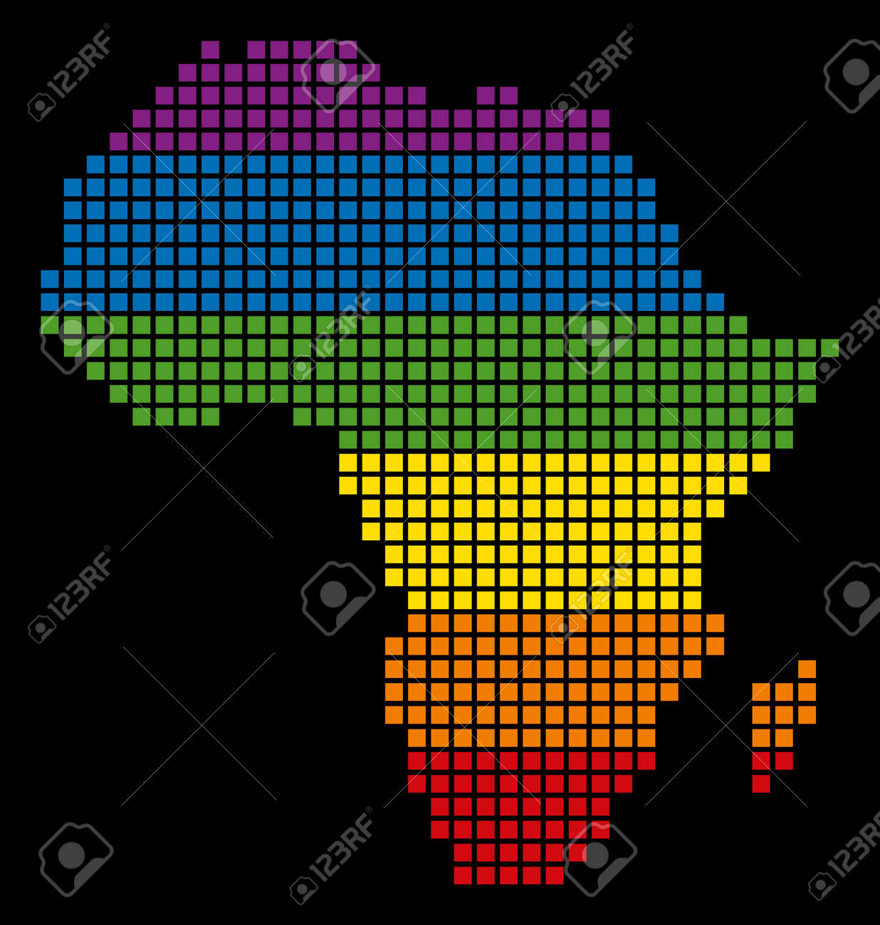 A Pixel LGBT Pride Africa Map For Lesbians Gays Bisexuals