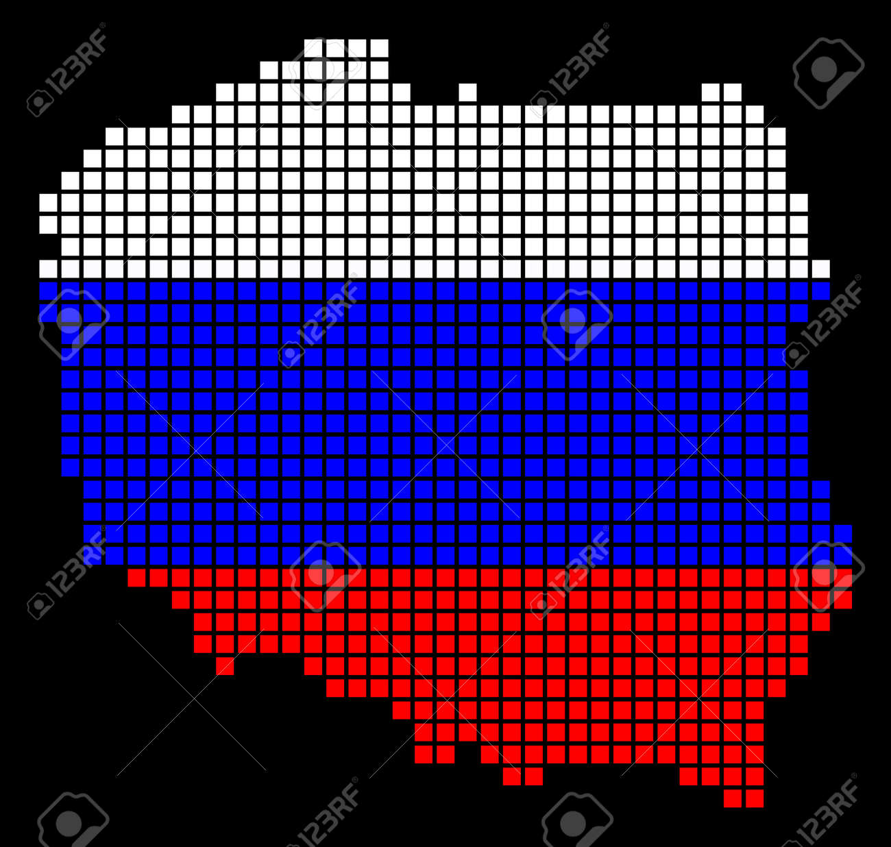 A Dotted Pixel Poland Map. Raster Geographic Map In Russia Flag ...