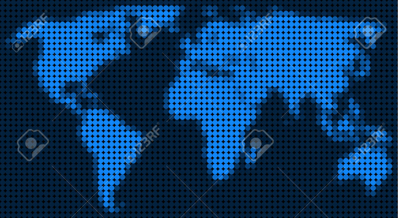 Dotted pixelated world map vector geographic map in blue colors dotted pixelated world map vector geographic map in blue colors vector composition of world gumiabroncs Choice Image